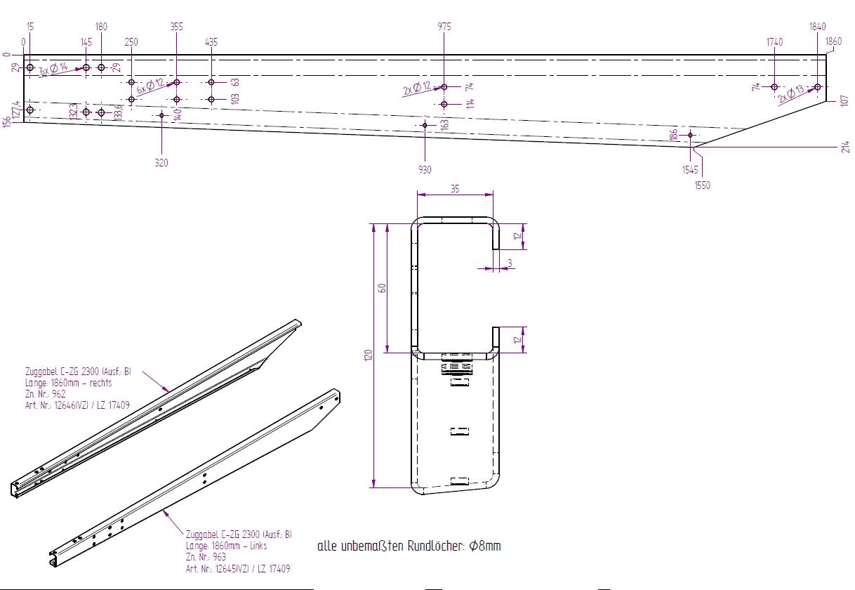 verz. Zuggabel links Ausf. B
