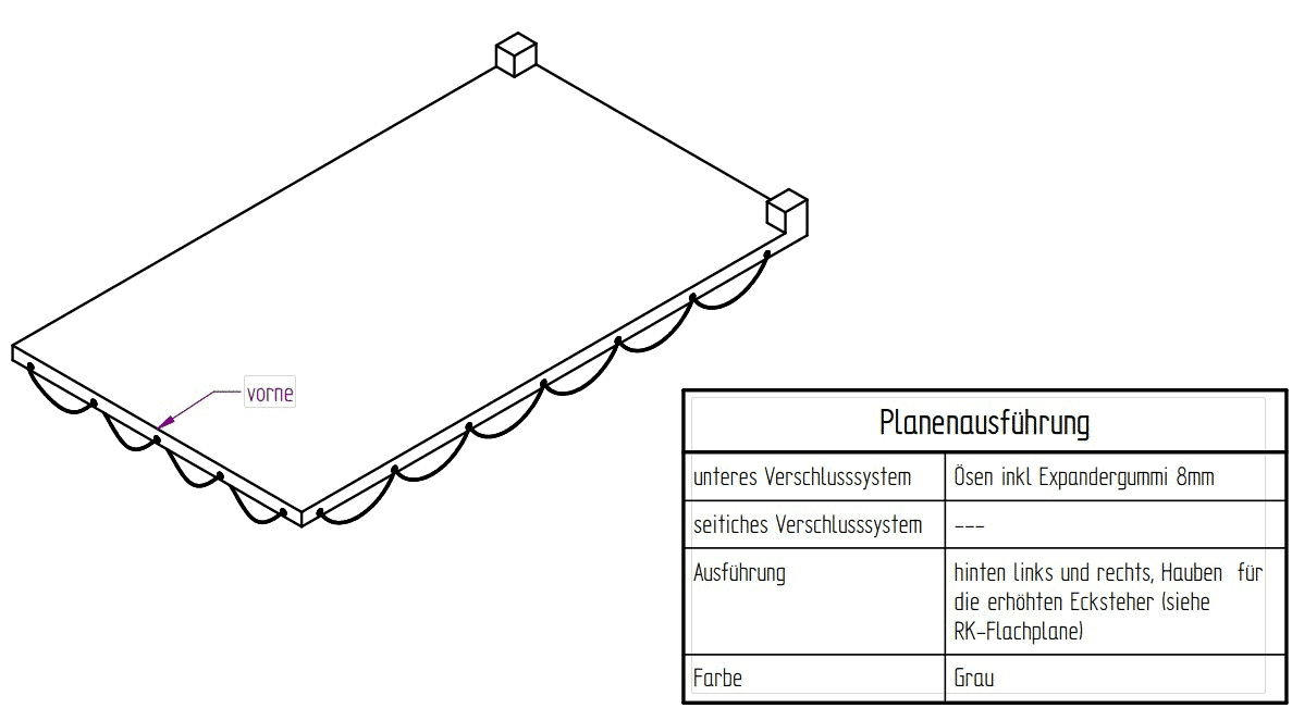 Flachplane grau zu 3-SKS 3600/17