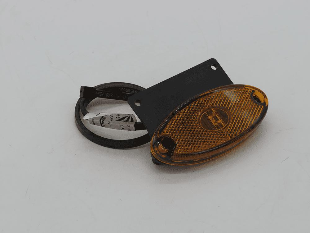 Seitenmarkierungsleuchte Flatpoint II orange mit Halter gerade mit Kabel