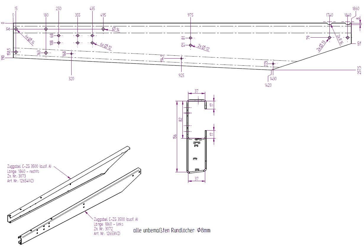 verz. Zuggabel rechts Ausf. A