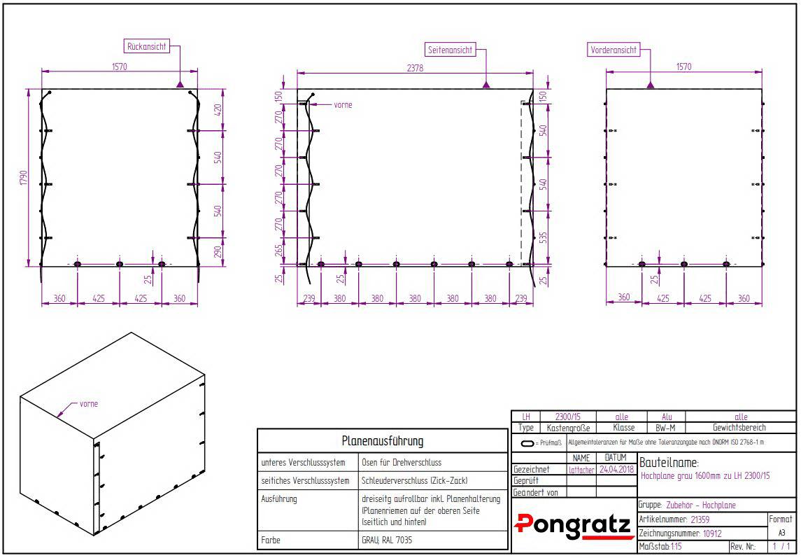 Hochplane grau 3-Seitig aufrollbar zu PG