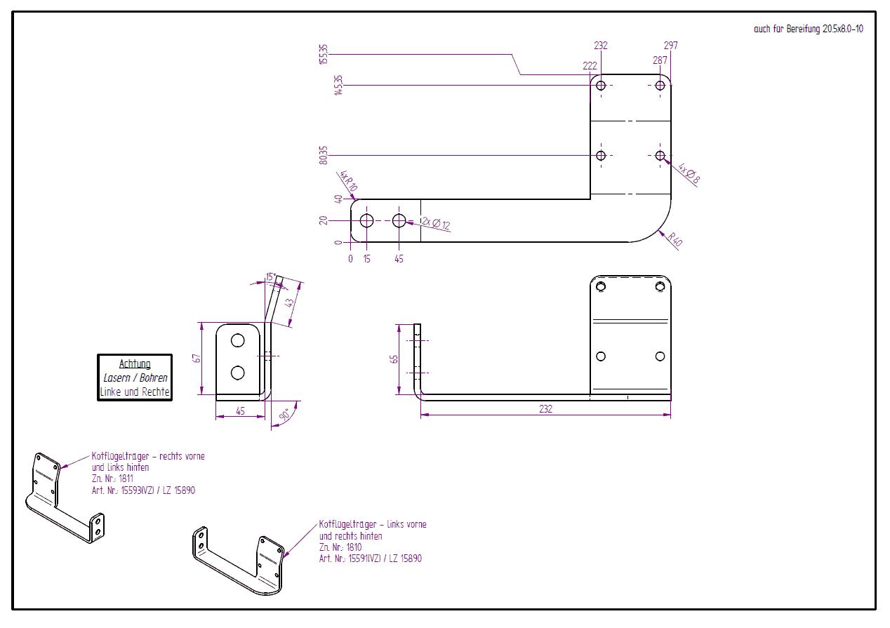 verz. Kotflügelträger 3-SKS 3.5t